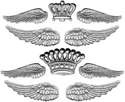 Декоративные металлические украшения короны и крылья для скрапбукинга Tim Holtz Idea-ology
