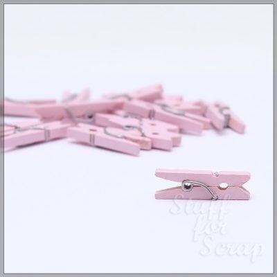 Мини-прищепки розовые, 2,5 см, 6 шт.