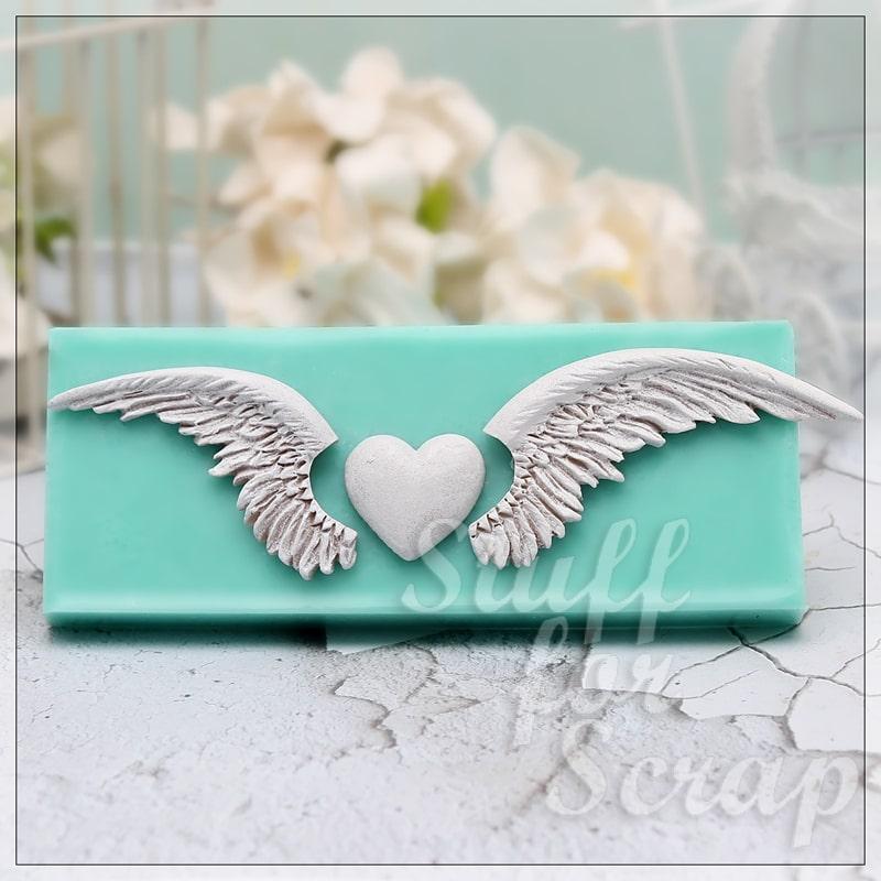 Крылья ангела и сердечко, средние Силиконовый молд для скрапбукинга