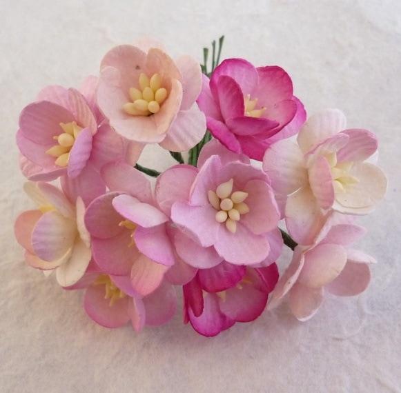 Цветы вишни микс в розовых тонах  5 шт 2.5 см