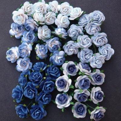 Открытые розочки в голубых тонах 10 мм, 5 шт