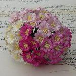 Маргаритки микс в розовых тонах  5 шт 2.5 см