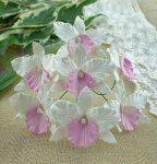 Орхидея белая с розовым, 1 шт, 4 см