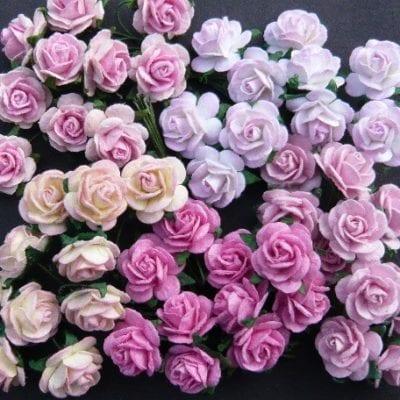 Открытые розочки в светло-розовых тонах 15 мм, 5 шт
