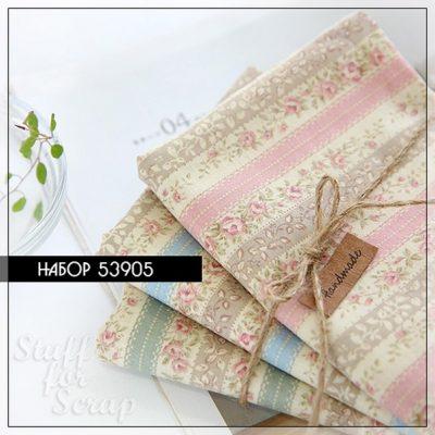 """Набор ткани """"Цветы в йенах"""", Корея, хлопок, 45х27,5 см"""