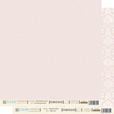 """Лист бумаги """"Светлый Коралловый"""", коллекция """"Шебби Шик Базовая"""", 30х30 см (Fleur design)"""