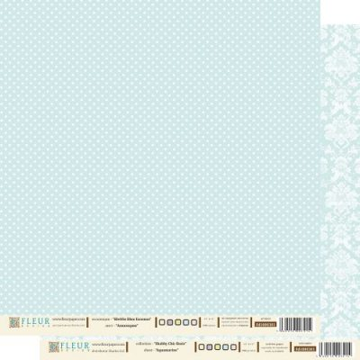 """Лист бумаги """"Аквамарин"""", коллекция """"Шебби Шик Базовая"""", 30х30 см  (Fleur design)"""