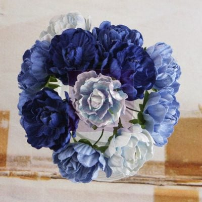 """Бумажные цветы Prima Flowers """"Серенада"""", синие микс, 12 шт."""