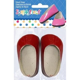 Лаковые туфли для куклы, красные, 1 пара