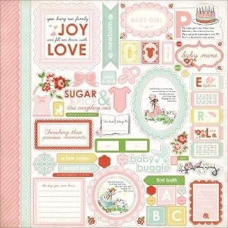 Наклейки для скрапбукинга Carta Bella серии Baby Mine для девочки