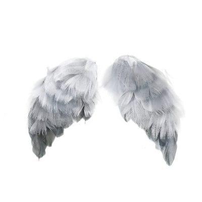 Крылья ангелов из перьев (Tilda), 5х9,5 см, серые, 2 шт