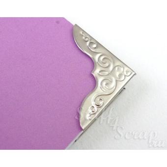 Уголки металлические декоративные, 23 мм, серебро, 1 шт