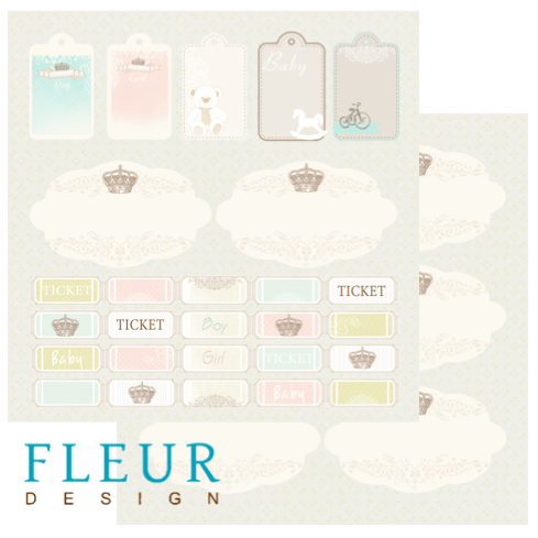Лист бумаги для скрапбукинга коллекция Детская от FLEUR design