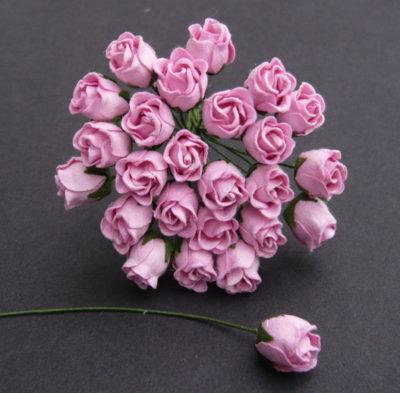 Бутоны роз полуоткрытые, нежно розовый, 1 см, 5 шт.