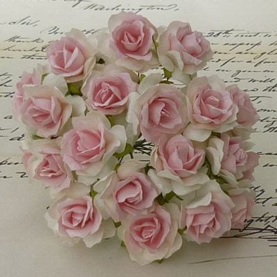 Розочки кудрявые, белый-детско-розовый, 3 см, 5 шт