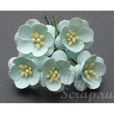 Цветы вишни 2,5 см, пастельно-зеленый, 5 шт