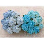 Кустовые розы 2,5 см, голубой микс, 4 шт.