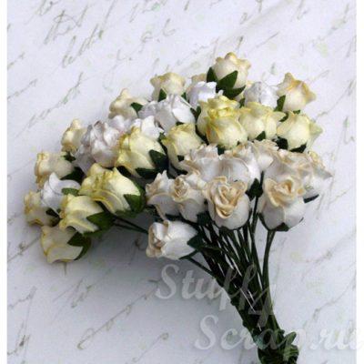 Бутоны роз открытые, кремовый микс, 1,3 см, 4 шт.