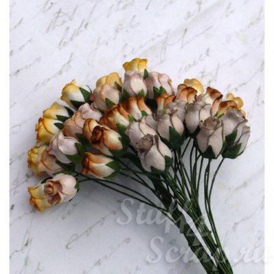 Бутоны роз открытые, коричневый микс, 1,3 см, 4 шт.