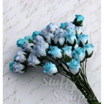 Бутоны роз открытые, голубой микс, 1,3 см, 4 шт.