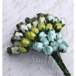 Бутоны роз открытые, зеленый микс, 1,3 см, 4 шт.