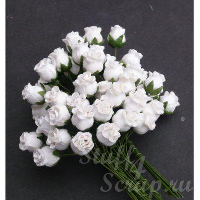 Бутоны роз открытые, белый, 1,3 см, 5 шт.