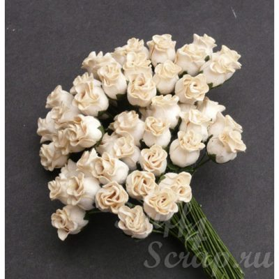 Бутоны роз открытые, айвори, 1,3 см, 5 шт.