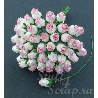 Бутоны роз открытые, бело-розовые, 1,3 см, 5 шт.