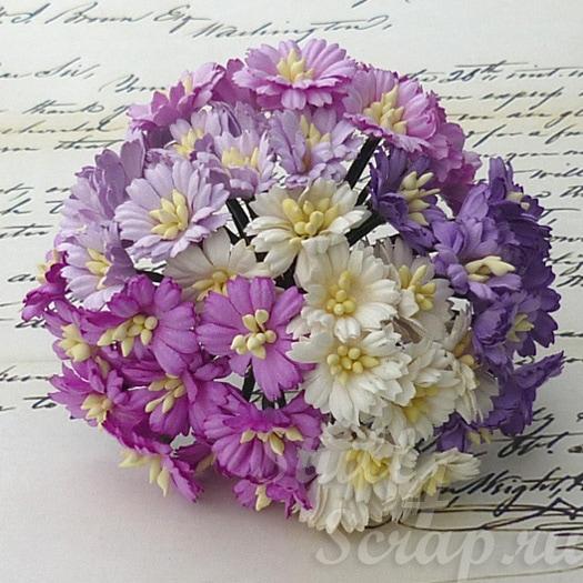 бумажные цветы и маргаритки ручной работы для скрапбукинга и декора