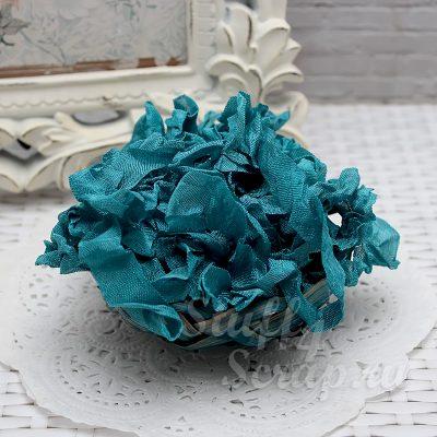 """Шебби лента """"Бирюзово синий"""", 14 мм, 1 м."""