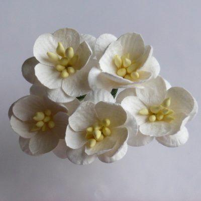 Цветы вишни 2,5 см, белый, 5 шт