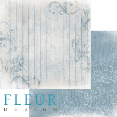 """Лист бумаги """"Изморозь на голубом"""", коллекция """"Шале"""", 30х30 см (Fleur design)"""