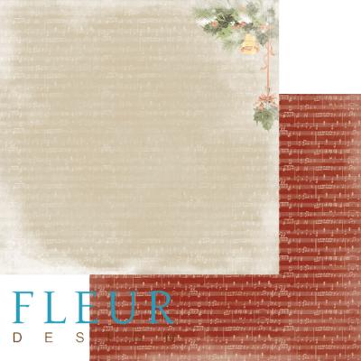 """Лист бумаги """"Звон"""", коллекция """"Новогодняя ночь"""", 30х30 см (Fleur design)"""
