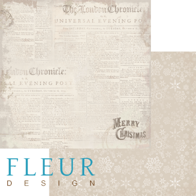 """Лист бумаги """"Газетные вырезки"""", коллекция """"Новогодняя ночь"""", 30х30 см (Fleur design)"""