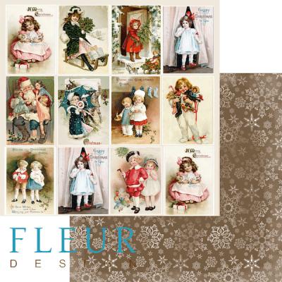 """Лист бумаги """"Карточки"""", коллекция """"Новогодняя ночь"""", 30х30 см (Fleur design)"""
