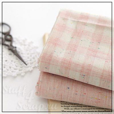"""Отрезок ткани """"Винтажный, в клетку, розовый"""" (Корея),  хлопок, 45*35 см"""