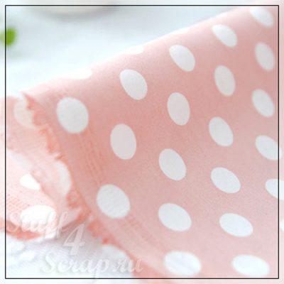 """Отрезок ткани """"Крупный горох, детский розовый"""" (Корея),  джинсовый спандекс, 47*32 см"""