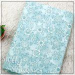 """Отрезок ткани """"Снежинки, голубой"""" (Корея), фланель, 45*35 см"""