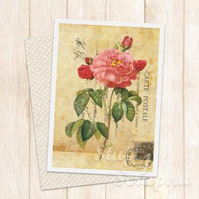 """Нашивка """"Почтовая карточка-цветы-01"""", лен или хлопок, 7х9 см"""