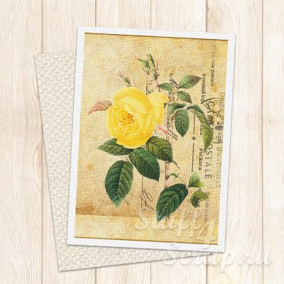 """Нашивка """"Почтовая карточка-цветы-03"""", лен или хлопок, 7х9 см"""