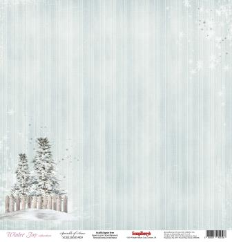 """Лист бумаги """"Снежный Лес"""", коллекция """"Зимнее Утро"""" (ScrapBerry's), 30х30 см"""