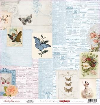 "Лист бумаги ""Красота"", коллекция ""Бабочки"" (ScrapBerry's), 30х30 см"