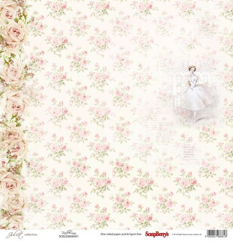 "Лист бумаги ""Балерина"", коллекция ""Джульетта"" (ScrapBerry's), 30х30 см"
