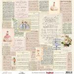 "Лист бумаги ""Музыка"", коллекция ""Джульетта"" (ScrapBerry's), 30х30 см"