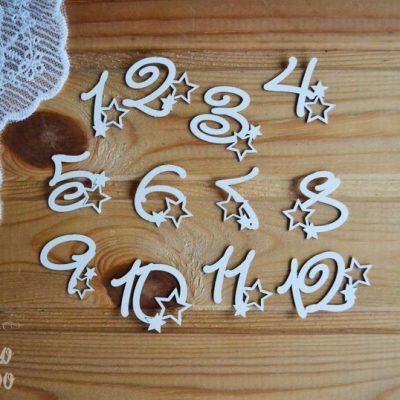 "Чипборд ""Набор цифр 1-12 со звездами"" (Просто небо), 12 шт."