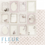"""Лист бумаги """"Горизонтальные рамочки"""", коллекция """"Наш малыш Девочка"""" (Fleur design), 30х30 см"""