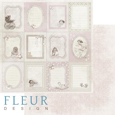 """Лист бумаги """"Вертикальные рамочки"""", коллекция """"Наш малыш Девочка"""" (Fleur design), 30х30 см"""