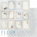 """Лист бумаги """"Горизонтальные рамочки"""", коллекция """"Наш малыш Мальчик"""" (Fleur design), 30х30 см"""