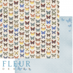 "Лист бумаги ""Бабочки"", коллекция ""Летний сад"" (Fleur design), 30х30 см"