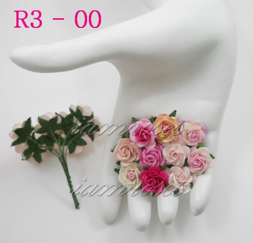Открытые розочки 20 мм, розово кремовый микс, 10 шт.